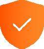 Orange gradient icon of a shield