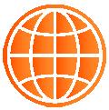 Orange gradient icon of a globe