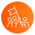 Orange gradient icon of people holding up a pole with a flag