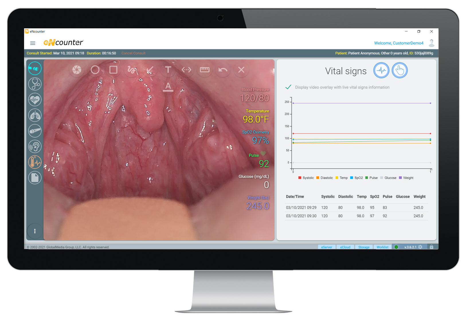 Computer showing eNcounter telehealth clinical software and display of imaging taken with exam camera.